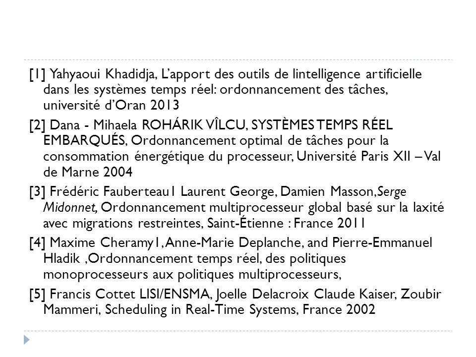 [1] Yahyaoui Khadidja, L'apport des outils de lintelligence artificielle dans les systèmes temps réel: ordonnancement des tâches, université d'Oran 2013 [2] Dana - Mihaela ROHÁRIK VÎLCU, SYSTÈMES TEMPS RÉEL EMBARQUÉS, Ordonnancement optimal de tâches pour la consommation énergétique du processeur, Université Paris XII – Val de Marne 2004 [3] Frédéric Fauberteau1 Laurent George, Damien Masson,Serge Midonnet, Ordonnancement multiprocesseur global basé sur la laxité avec migrations restreintes, Saint-Étienne : France 2011 [4] Maxime Cheramy1, Anne-Marie Deplanche, and Pierre-Emmanuel Hladik ,Ordonnancement temps réel, des politiques monoprocesseurs aux politiques multiprocesseurs, [5] Francis Cottet LISI/ENSMA, Joelle Delacroix Claude Kaiser, Zoubir Mammeri, Scheduling in Real-Time Systems, France 2002